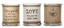 "Hosley Glass ""I Love U"" Tea Light/ Votive LED Candle Holder, 3 Assorted Holders. Ide ..."