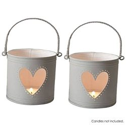 Hosley's Set of 2 Lanterns, 4 inch High with Heart Cutout. Ideal Gift for Weddings, Party, ...