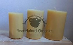 Handmade 100% Raw Organic Beeswax pillar candles set of 3 sizes (2×3.8, 3 x 4.5 and 3.5 x 5)