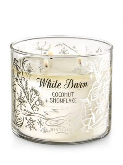 Bath and Body Works White Barn Candle 3 Wick 14.5 Ounce Coconut Snowflake