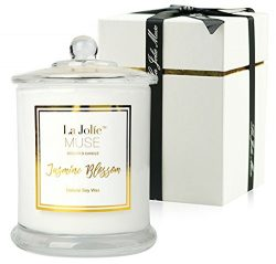 Jasmine Scented Candles Soy Wax, Glass Jar Candle, 55 Hours BURN, Fine Home Fragrance, Gift for her