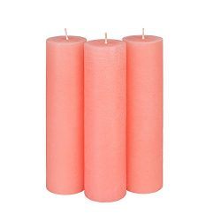 Candle Atelier Coral Pink 2″ x 7.5″ Handmade Pillar Candles, Fragrance-free, Set of 3