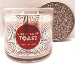 Bath and Body Works White Barn Champagne Toast 3 Wick Candle 14.5 Ounce Now Made with Essential  ...