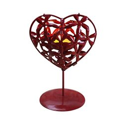 Valentine Candlestick, SUKEQ Heart Shape Hollowed Iron Stencil Candlestick Home Adornment Decora ...