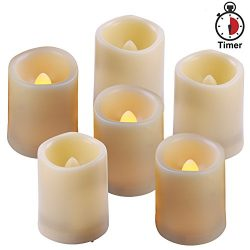 Homemory 6PCS Flameless LED Votive Candles with Timer(4H/8H Mode), 400+ Hours Battery Candles, M ...