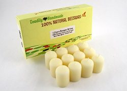 One dozen (12) Hand Poured Solid Beeswax Votive Candles in Ivory Wax – 100% Beeswax Candle ...