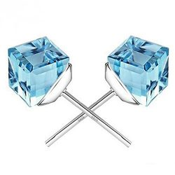 Winter's Secret the Water Cube Sky Blue Crystal Square Shape Silver Plated Fashion Stud Ea ...