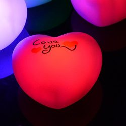 kingleder Battey Powered Color Changing Romantic Heart-shaped Night Light for Valentine's  ...