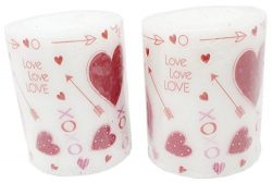Valentine Unscented Printed Pillar Candles, Set of 2, 3″ (Valentine's Day Sentiment)