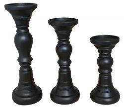 TIAAN's Set of 3 Resin Clasic Pillar Candle Holders – 12″, 10″, 8″