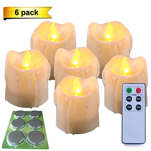 6Pack Homemory Battery Operated Flameless LED Taper Candles Yellow Flame Lights