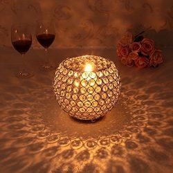 VINCIGANT Gold Crystal Votive Candle Sleeve Holder Centerpieces for Valentines Day Wedding Decor ...