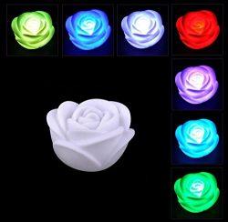 Chris.W 6Pcs Fancy Colorful 7 Colors Changing LED Rose Flower Romantic Wedding Valentine's ...
