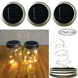 Solar Lights Garden Decor Mason Jar Lids Insert String Lights (3 PCS), 10 LED Bulbs Starry Fairy ...