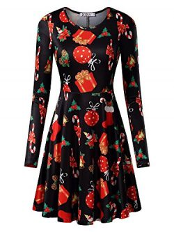 KIRA Women's Christmas Dress Xmas Gifts Print Flared Swing A Line Dress Small Bell and Candle