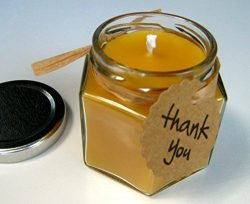 Pure Raw Beeswax Candle Glass Jar Handmade Thank you Gift, Bridal or Wedding Favor, 4oz