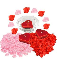 Valentine's Day Romantic Getaway Decoration Pack Includes 12 Red Heart Floating Candles, 2 ...