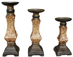 TIAAN's Set of 3 Resin Pillar Candle Holders – 12″, 10″,8″