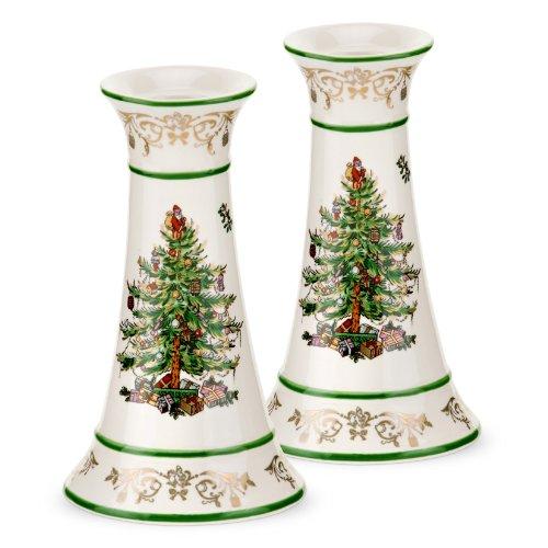 Spode Christmas Tree Gold Candlesticks, Set of 2