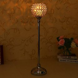 VINCIGANT Gold Decorative Tall Crystal Candelabra Centerpiece/Candlesticks for Valentines Day De ...