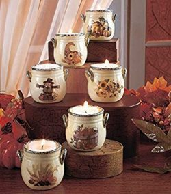 Set of 6 Whimsical Ceramic Fall Harvest Tealight Crock Holiday Decor
