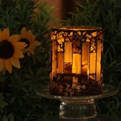 GiveU Brown Mosaic Flameless Candle,Pillar Led Candle with Timer, 3X4″, for Home Decor, We ...