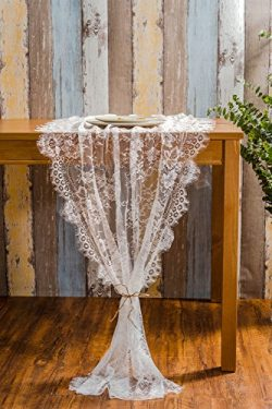 Crisky Lace Table Runner Lace Overlay, Valentine's Day Romantic Candlelight Dinner Rustic  ...