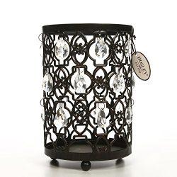 Hosley's Tea Light/Votive Candle Holder Romantic Sparkle Lantern 7.8″ High. Clear Ac ...