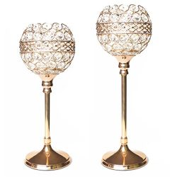 Easeurlife Gold Crystal Candle Holders Set of 2 Pack(Gold, 11.8″ & 13.8″)