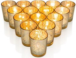 Premium Votive Candle Holders made of Mercury Glass with Speckled Gold – Adds warm elegant ...