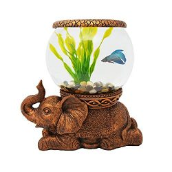 Exclusive Design New Good Luck Decorative Gold Antiqued Elephant Glass Fish Bowl Tabletop Aquari ...
