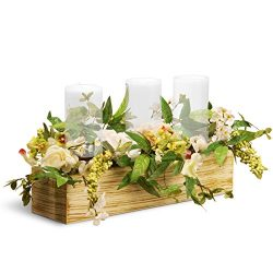 National Tree 22 Inch Spring 3 Candleholder Wood Box with Mixed Flowers and Berries (RAS-BE030146B)