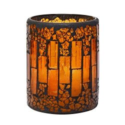 GiveU Pumpkin Mosaic Flameless Pillar Led Candle with Timer, 3 x 4″ for Home Party Decorat ...