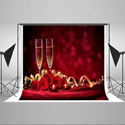 Maijoeyy 7x5ft Valentine's Day Backdrops Champagne Rose Candles Photo Backgrounds Backdrop ...