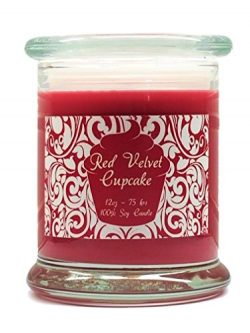 Red Velvet Cupcake Candle Soy Wax 12oz Valentine's Day Scented Candle with free gift box b ...