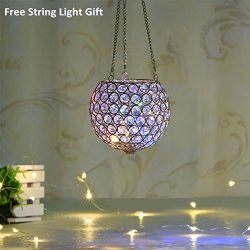 VINCIGANT Gold Hanging Crystal Candle Lantern Flower Vase for Valentines Day Decoration with Cha ...