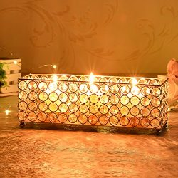 VINCIGANT Gold Crystal Rectangular Tealight / Votive Candle Holder Tray for Valentines Day Table ...