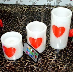 "Set of 3(4""x5""x6"") LED Romantic LOVE Heart-Shaped Flameless Candles With 18-ke ..."