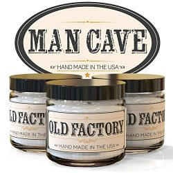 Scented Candles – Man Cave – Set of 3: Straight Razor, Leather, and Mahogany – ...