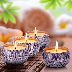 Scented Candles Blue & White Gift Set – 4 Pack Fragrance Soy Wax Candle with Aromather ...