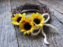 Sunflower Twig Candle Ring Wreath for Pillars Votives- Summer Fall Table Centerpiece- 3 Sizes Av ...