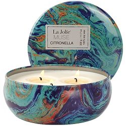 Citronella Candles Scented Soy Wax 3 Wick Tin, 70 Hour Burn, Natural Mosquito Repels, Outdoor an ...