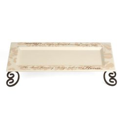 Simply Stated by Pavilion 12 by 5 by 2-1/2-Inch Candle Tray with Metal Scroll Stand, Best Journe ...