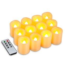 Kohree Set of 12 Flameless Votive Candles Pillar LED Candles with Remote & Timer, Batteries  ...