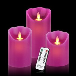 Antizer Flameless candles For Spring (Purple, 3)