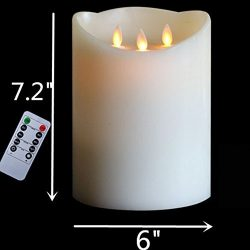 "H7.2"" 3-Wicks Timer Remote Battery Operated Big Decorative Candle ,3D Dancing flame Pillar ..."