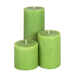 Candle Atelier Olive Green 3 Pillars: 3″, 4,5″, 7.5″ Handmade Pillar Candles,  ...