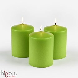 3 x 4″ Pillar Candles Set of 3 (Lime Green ) (Citronella Scented ) Higlow Made In USA
