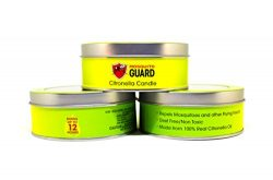 Mosquito Guard Citronella Candles (3 Pack) 4.7 Oz each, Triple Wick, Made with 100% Natural Citr ...