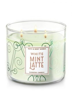 Bath and Body Works White Mint Latte Scented 3 Wick Candle New for 2017
